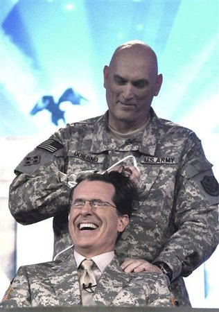 Colbert Getting a Haircut by a General